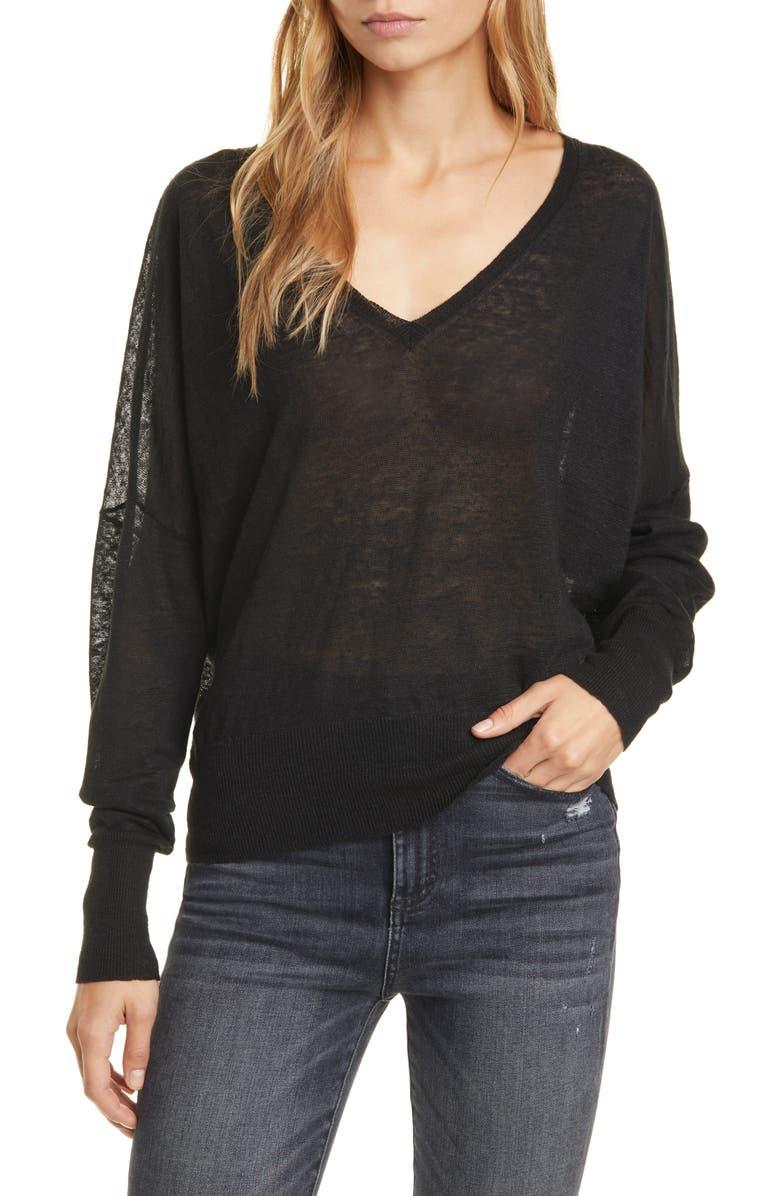 NILI LOTAN Ginny Linen Sweater, Main, color, BLACK