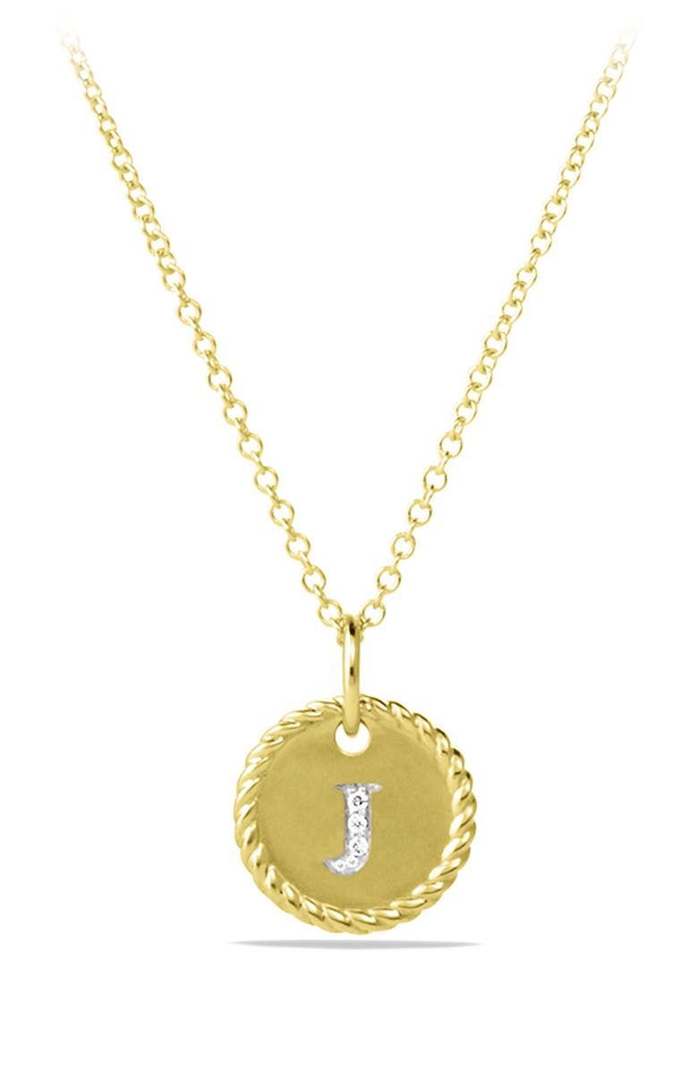DAVID YURMAN 'Cable Collectibles' Initial Pendant with Diamonds in Gold on Chain, Main, color, J