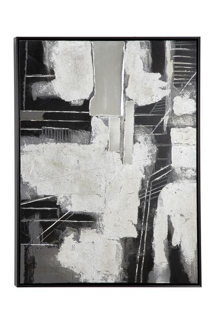 """Image of Willow Row 28.5"""" X 38.5"""" 3D Multi-Media Abstract Painting In Wood Frame"""