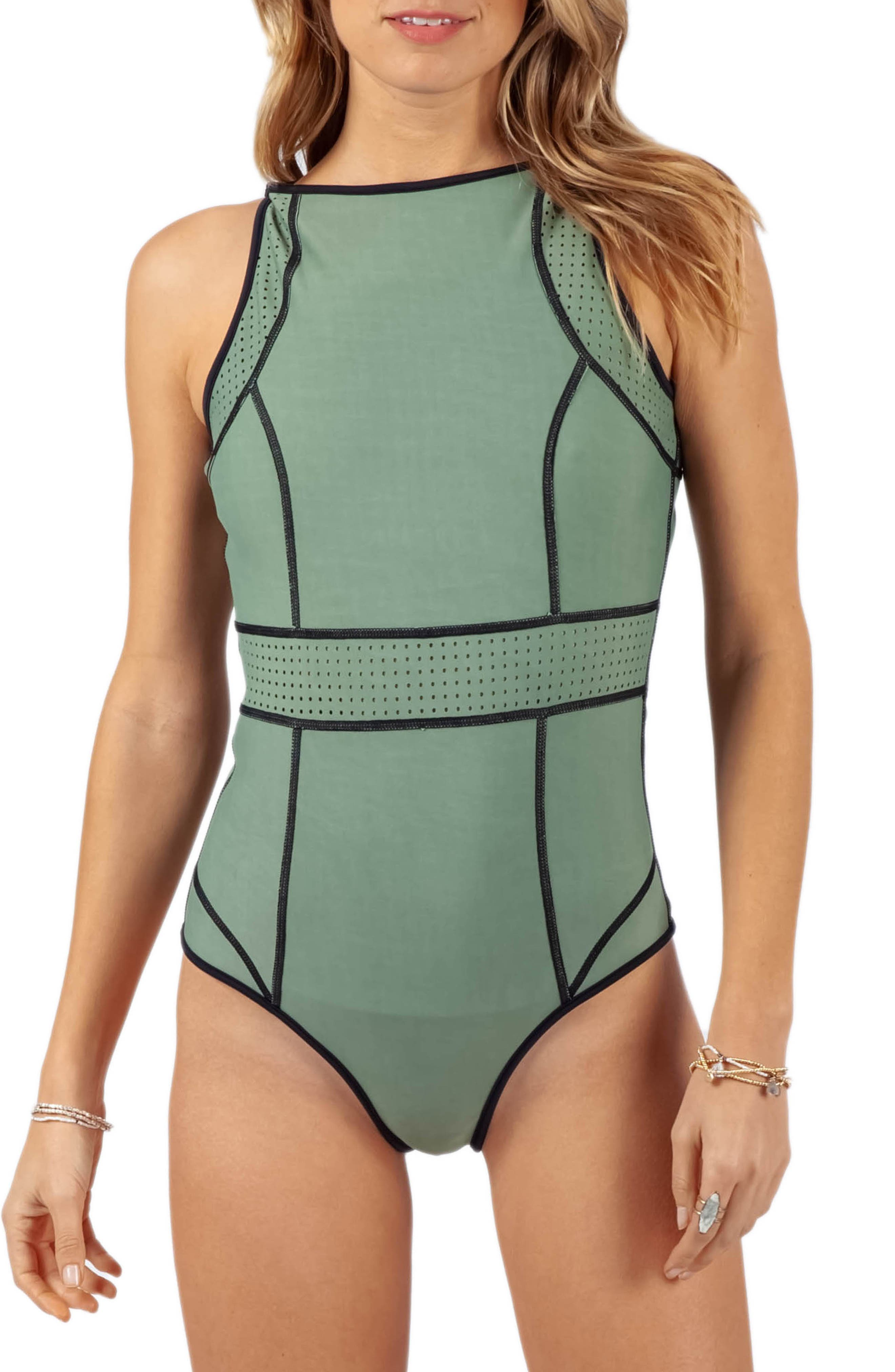 Rip Curl Mirage Impact Reversible One-Piece Swimsuit, Black