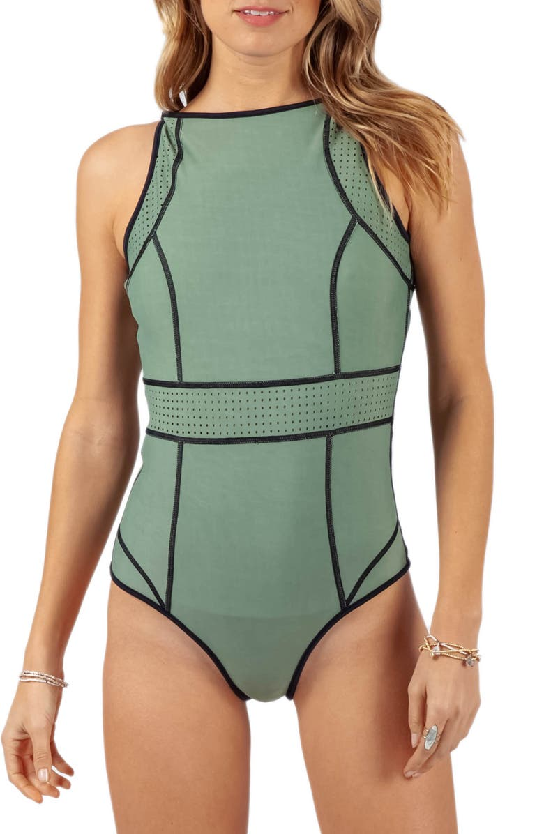 RIP CURL Mirage Impact Reversible One-Piece Swimsuit, Main, color, BLACK/ GREEN