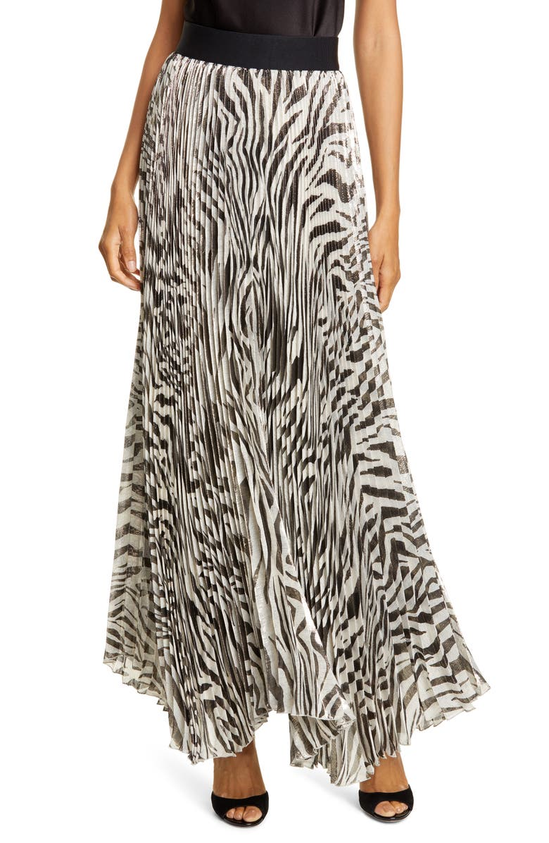 ALICE + OLIVIA Katz Animal Print Pleated Silk Blend Maxi Skirt, Main, color, TIGER SOFT WHITE/ BLACK