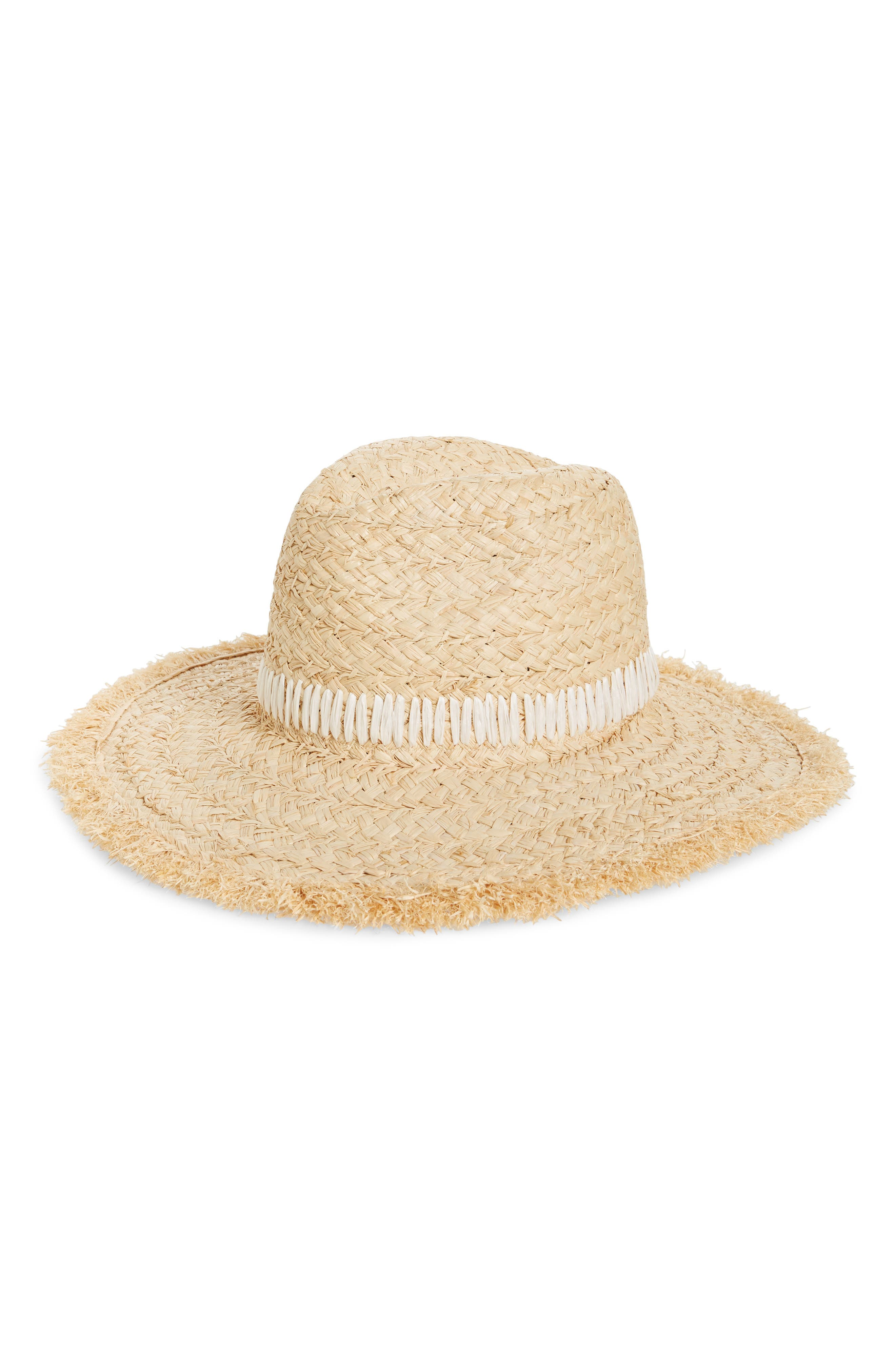 Frayed Edge Straw Panama Hat, Main, color, NATURAL COMBO