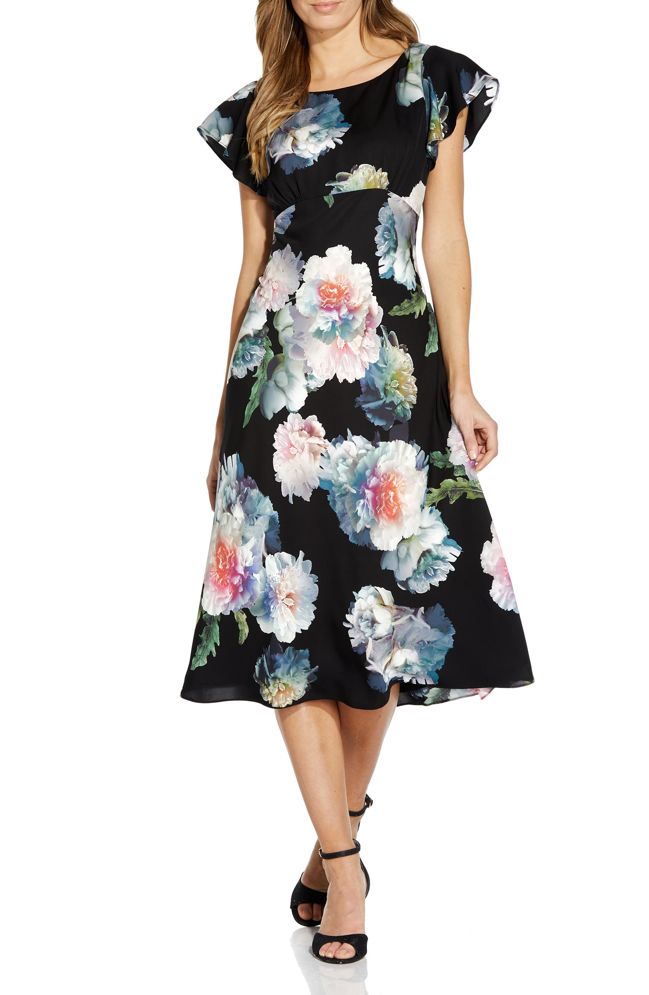 Floral Fit & Flare Crepe De Chine Midi Dress