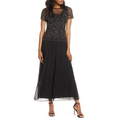 Pisarro Nights Embellished Mesh Mock Two-Piece Gown, Black