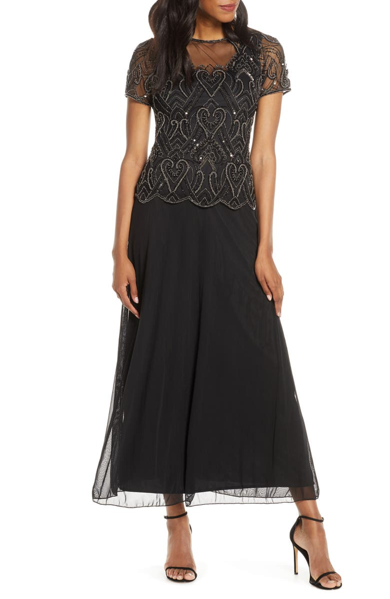 PISARRO NIGHTS Embellished Mesh Mock Two-Piece Gown, Main, color, BLACK