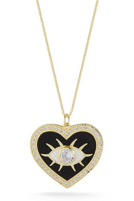 Image of Sphera Milano Gold Vermeil CZ Evil Eye Heart Pendant Necklace
