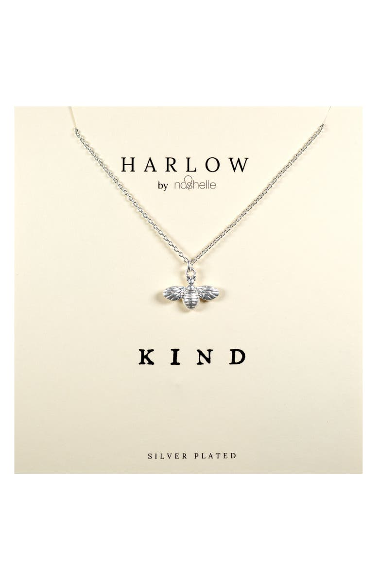 NASHELLE HARLOW by Nashelle Kind Bumblebee Boxed Necklace, Main, color, SILVER