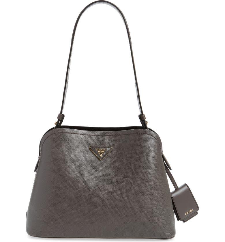 PRADA Small Promenade Saffiano Calfskin Shoulder Bag, Main, color, FUMO/ NERO