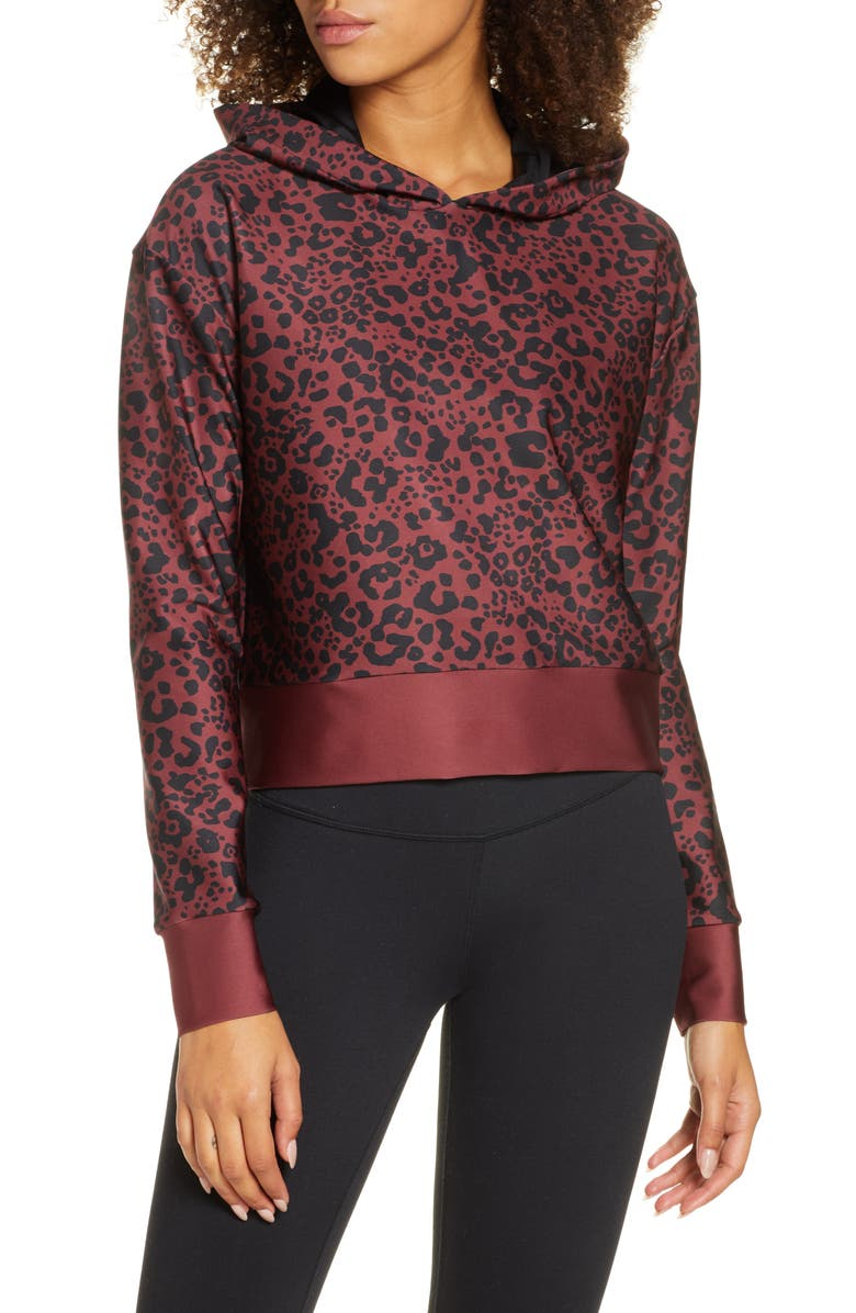 COR DESIGNED BY ULTRACOR Leopard Print Crop Pullover Hoodie, Main, color, GARNET / BLACK