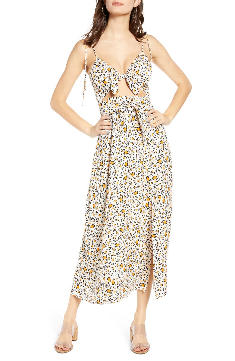 WAYF Phoebe Animal Print Tie Front Cutout Maxi Dress, Main, color, LEOPARD PRINT