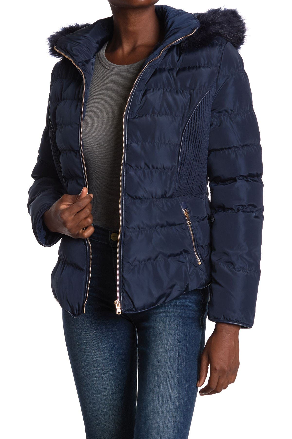 Image of Andrew Marc Faux Fur Lined Hood Zip Front Puffer Jacket