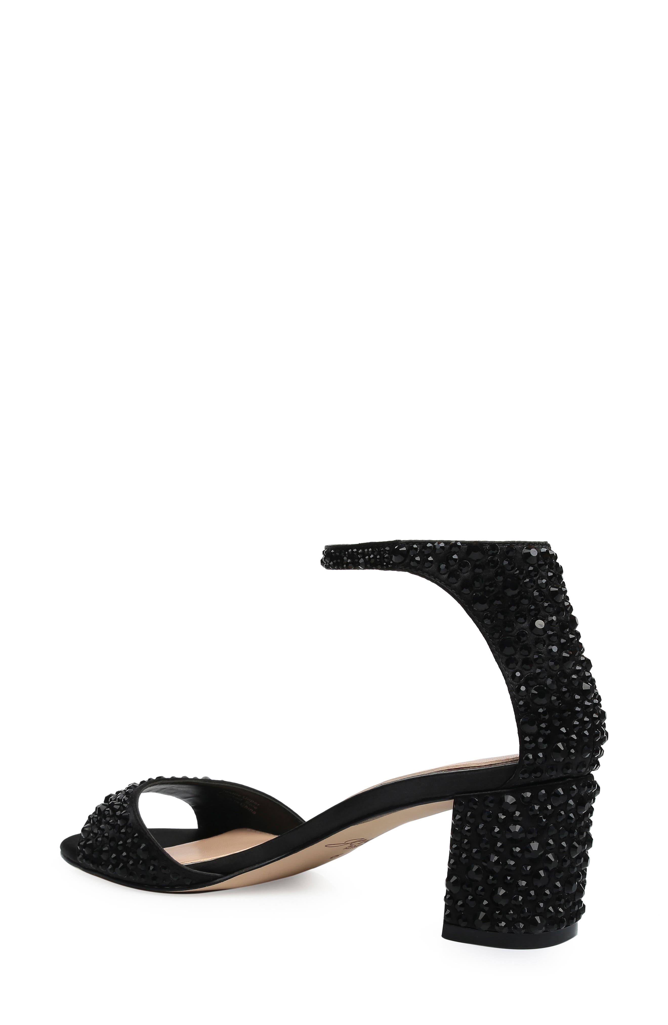 ,                             Crystal Block Heel Sandal,                             Alternate thumbnail 2, color,                             BLACK CRYSTAL SATIN