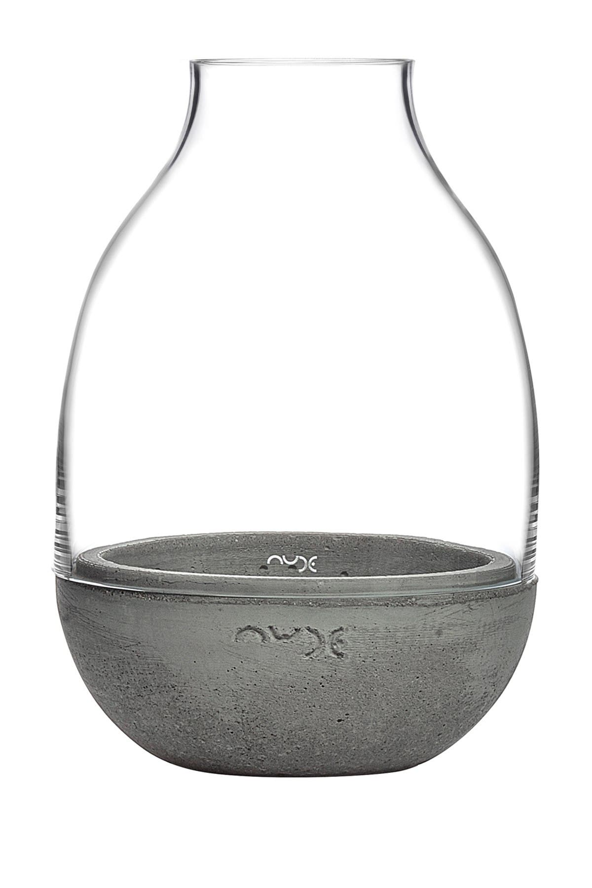 Image of Nude Glass Eden Mini Terrarium - Clear with Moulded Concrete Base