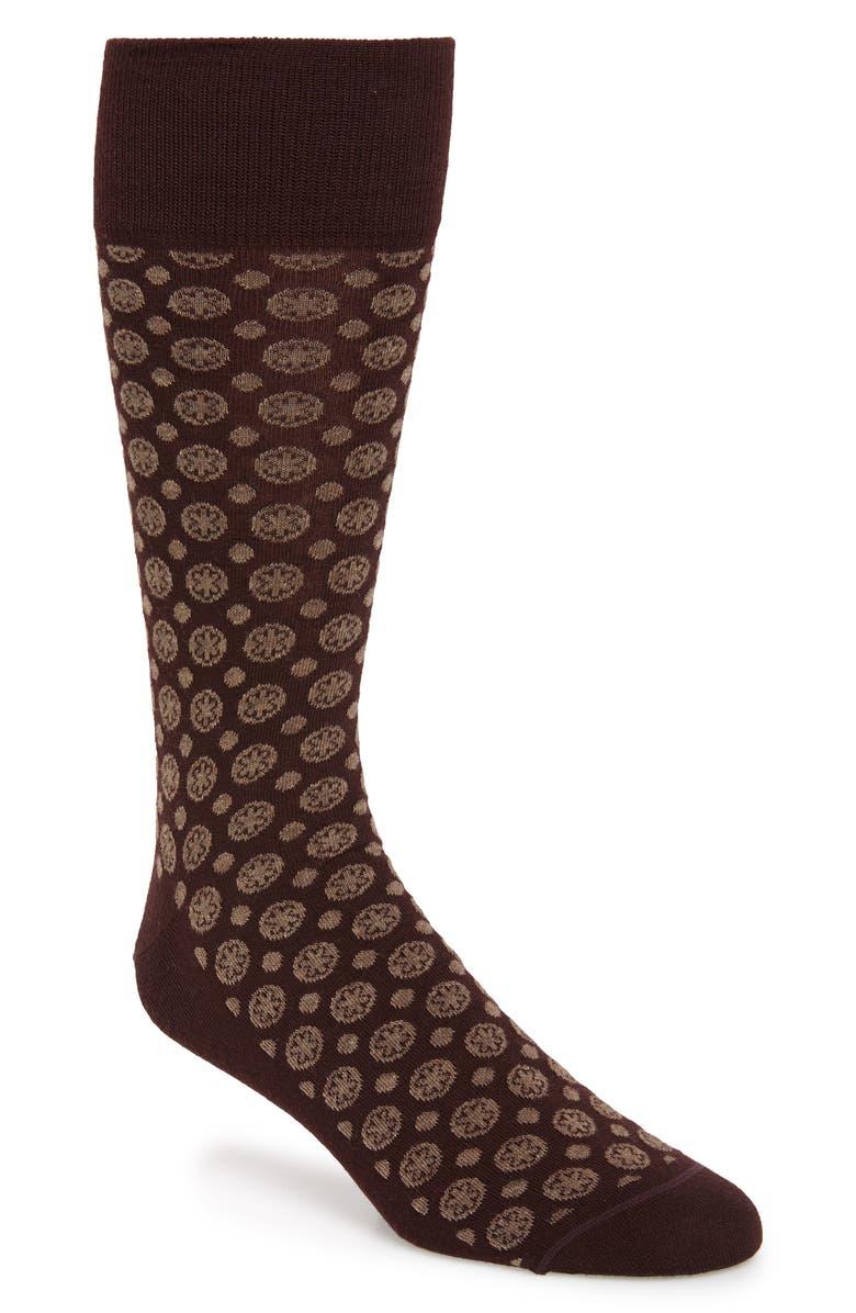 NORDSTROM SIGNATURE Foulard Dot Socks, Main, color, BURGUNDY/ BROWN