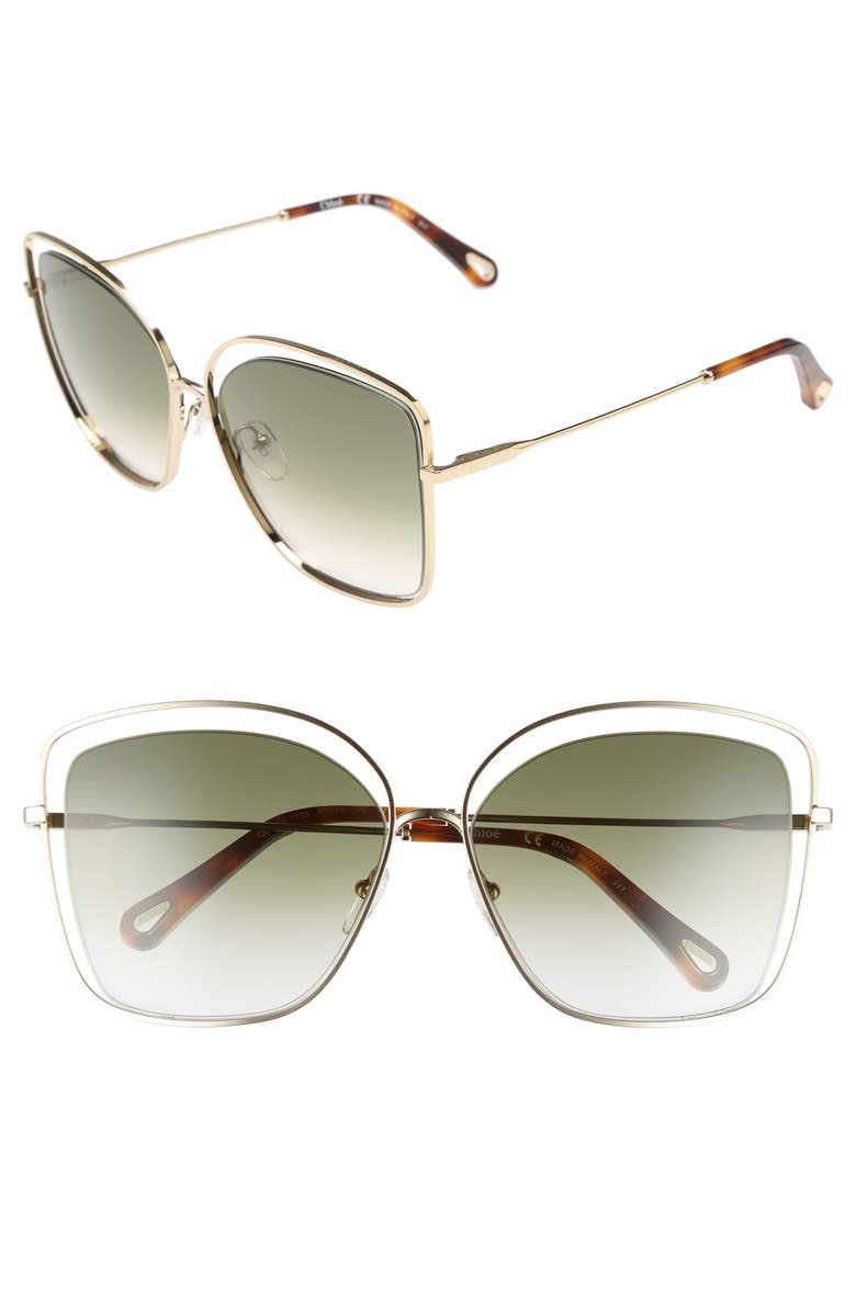 CHLOÉ 60mm Halo Frame Sunglasses, Main, color, GOLD/ GREEN