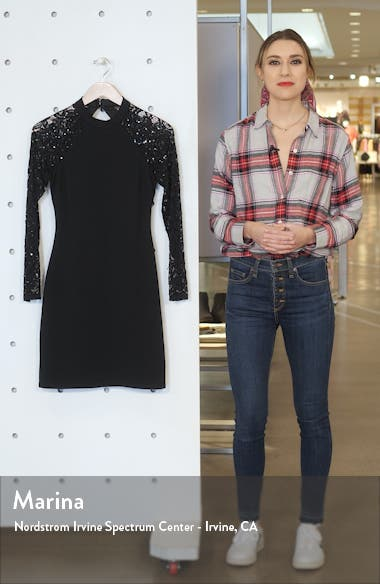Sequin Lace Long Sleeve Cocktail Dress, sales video thumbnail