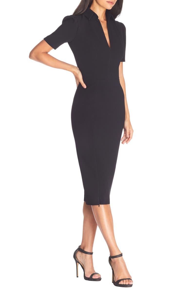 DRESS THE POPULATION Gloria Front Zip Sheath Dress, Main, color, 001