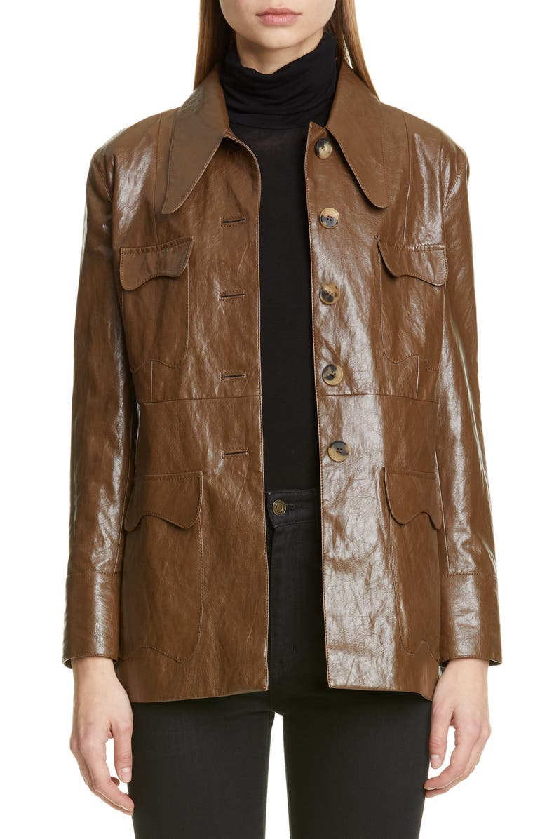 REJINA PYO Olivia Faux Leather Jacket, Main, color, WALNUT BROWN