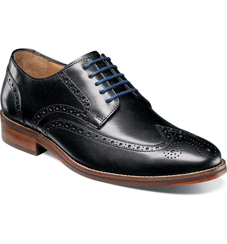 FLORSHEIM Salerno Wingtip, Main, color, BLACK LEATHER
