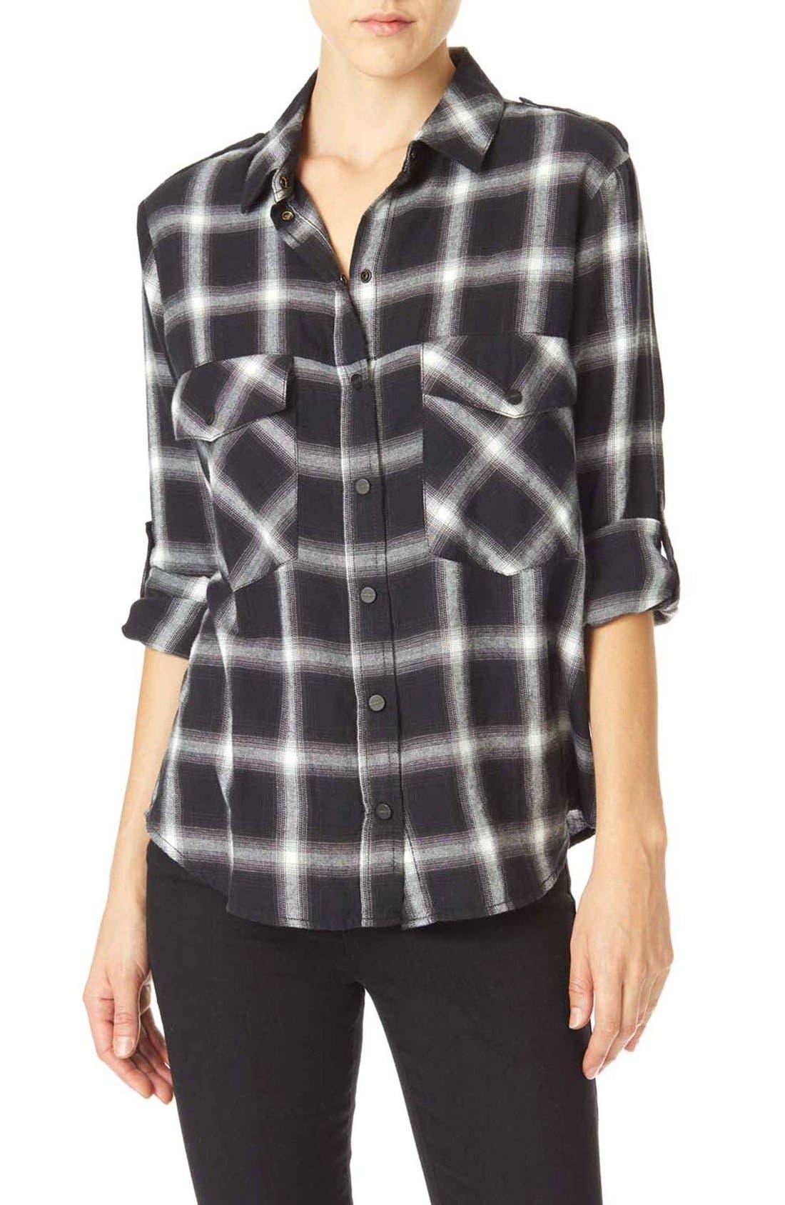 ,                             Plaid Flannel Boyfriend Shirt,                             Main thumbnail 3, color,                             097