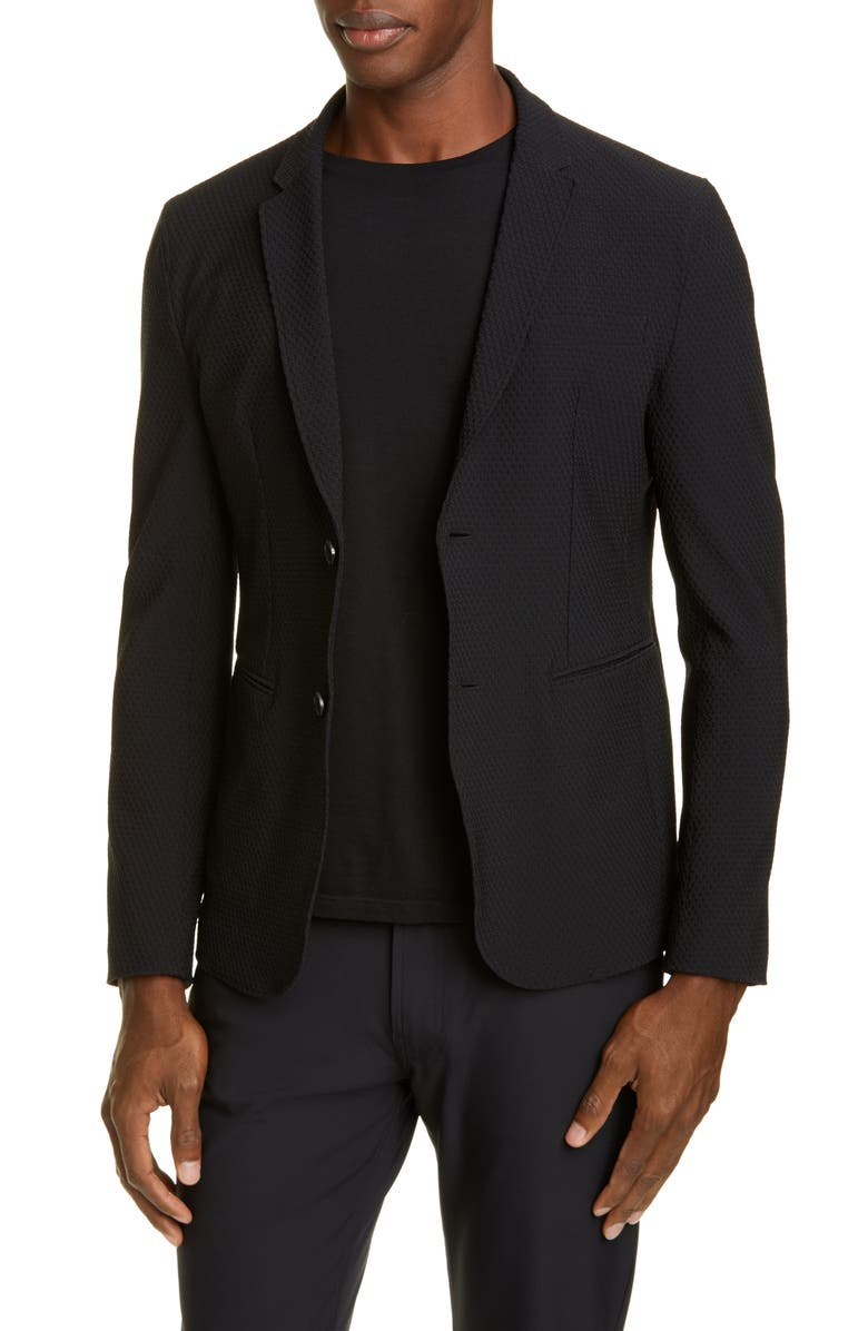 EMPORIO ARMANI Trim Fit Stretch Knit Sport Coat, Main, color, BLACK