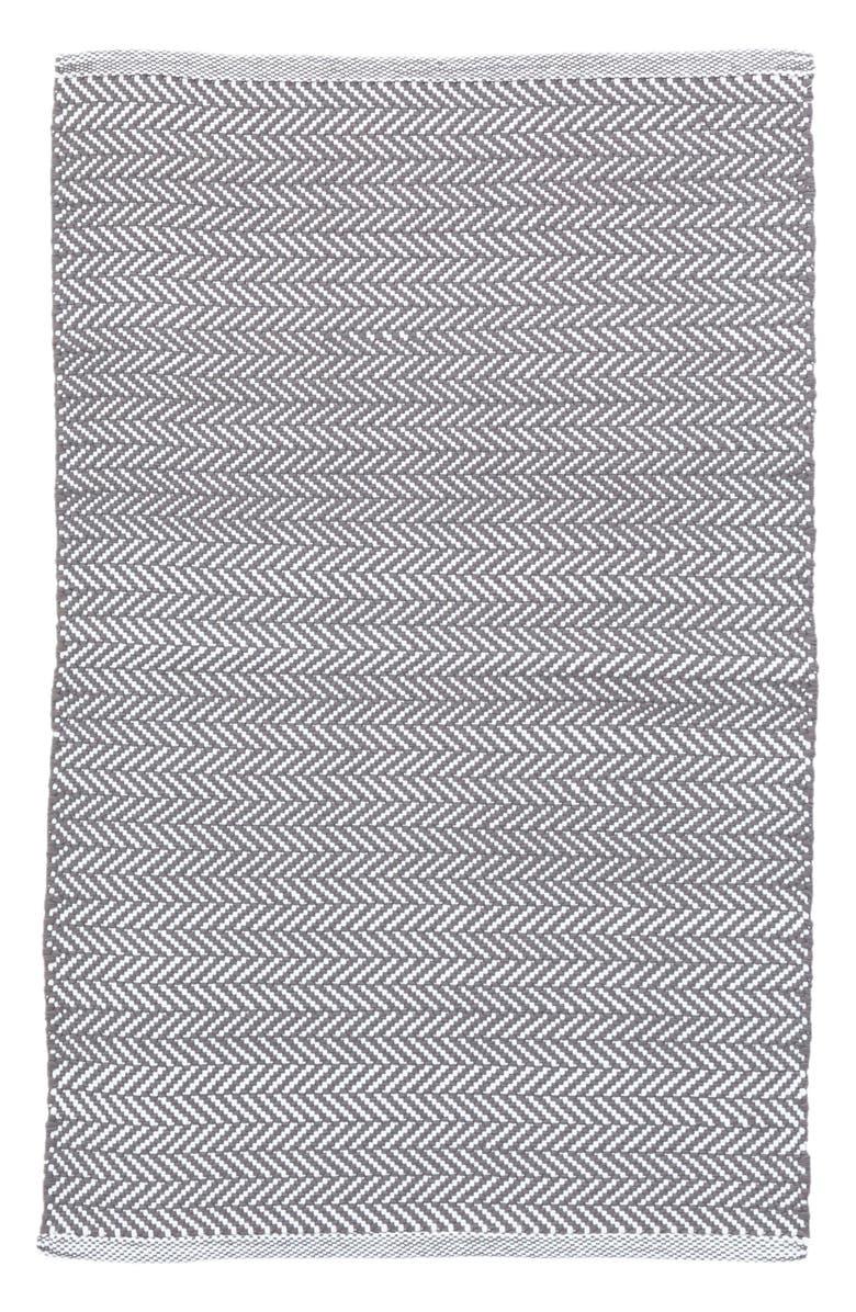 DASH & ALBERT Herringbone Indoor/Outdoor Rug, Main, color, GREY