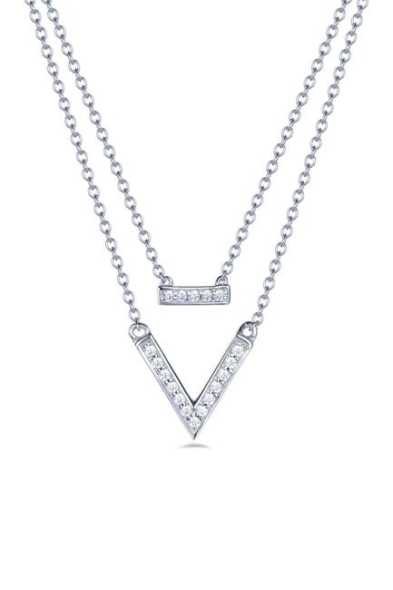 Image of LaFonn Platinum Over Sterling Silver Simulated Diamond Pendant Layer Necklace