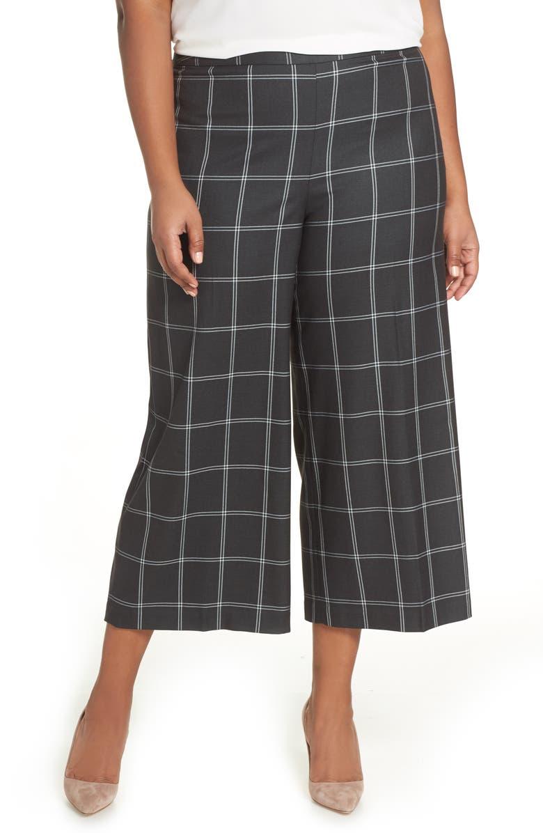 SEJOUR Windowpane Check Wide Leg Crop Pants, Main, color, 030