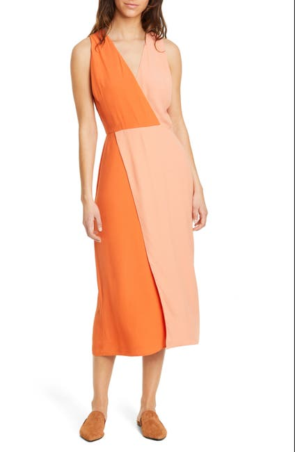 Image of Equipment Galane Colorblock Crepe Dress