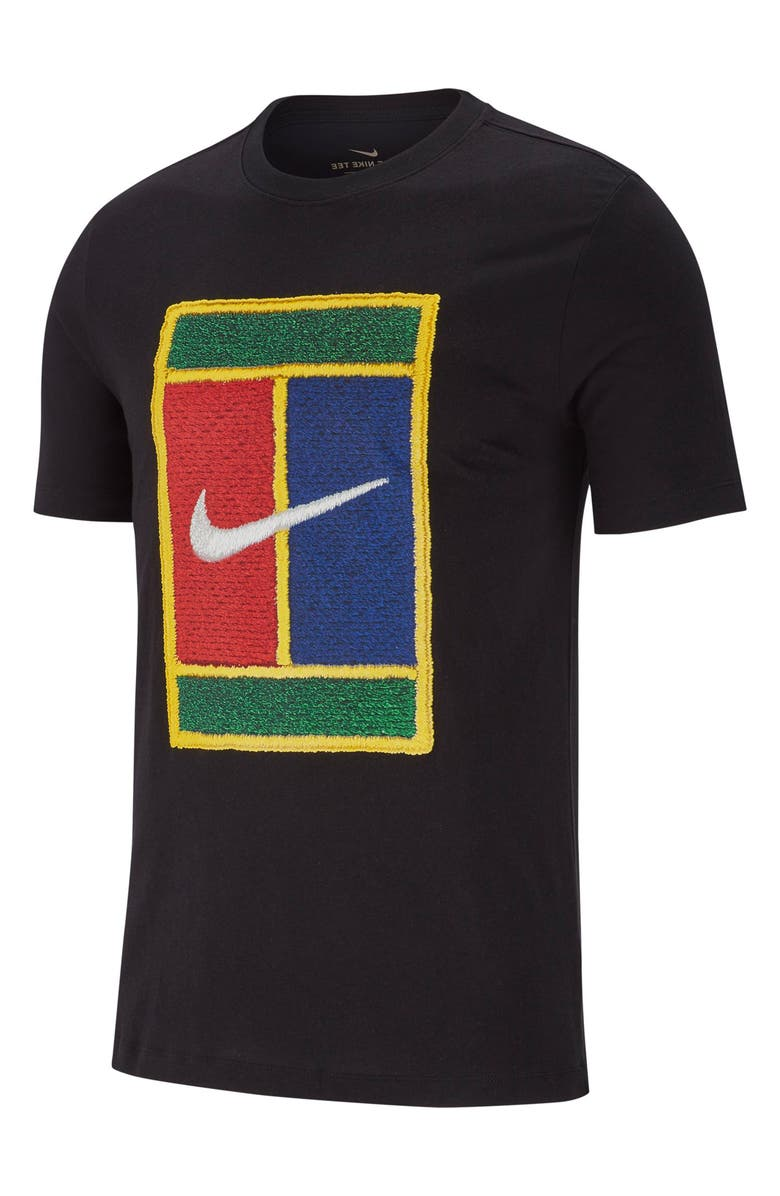 NIKE NikeCourt Logo Graphic Tee, Main, color, BLACK