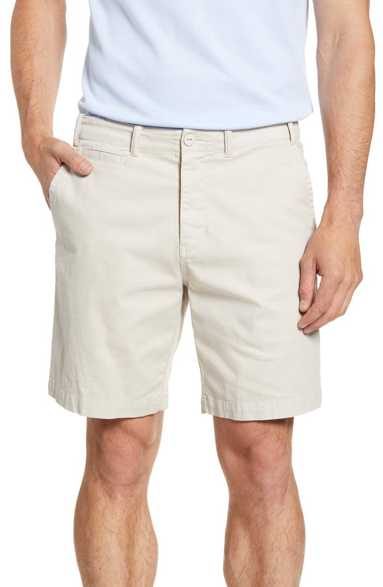 REYN SPOONER Stretch Twill Shorts, Main, color, RAINY DAY STONE