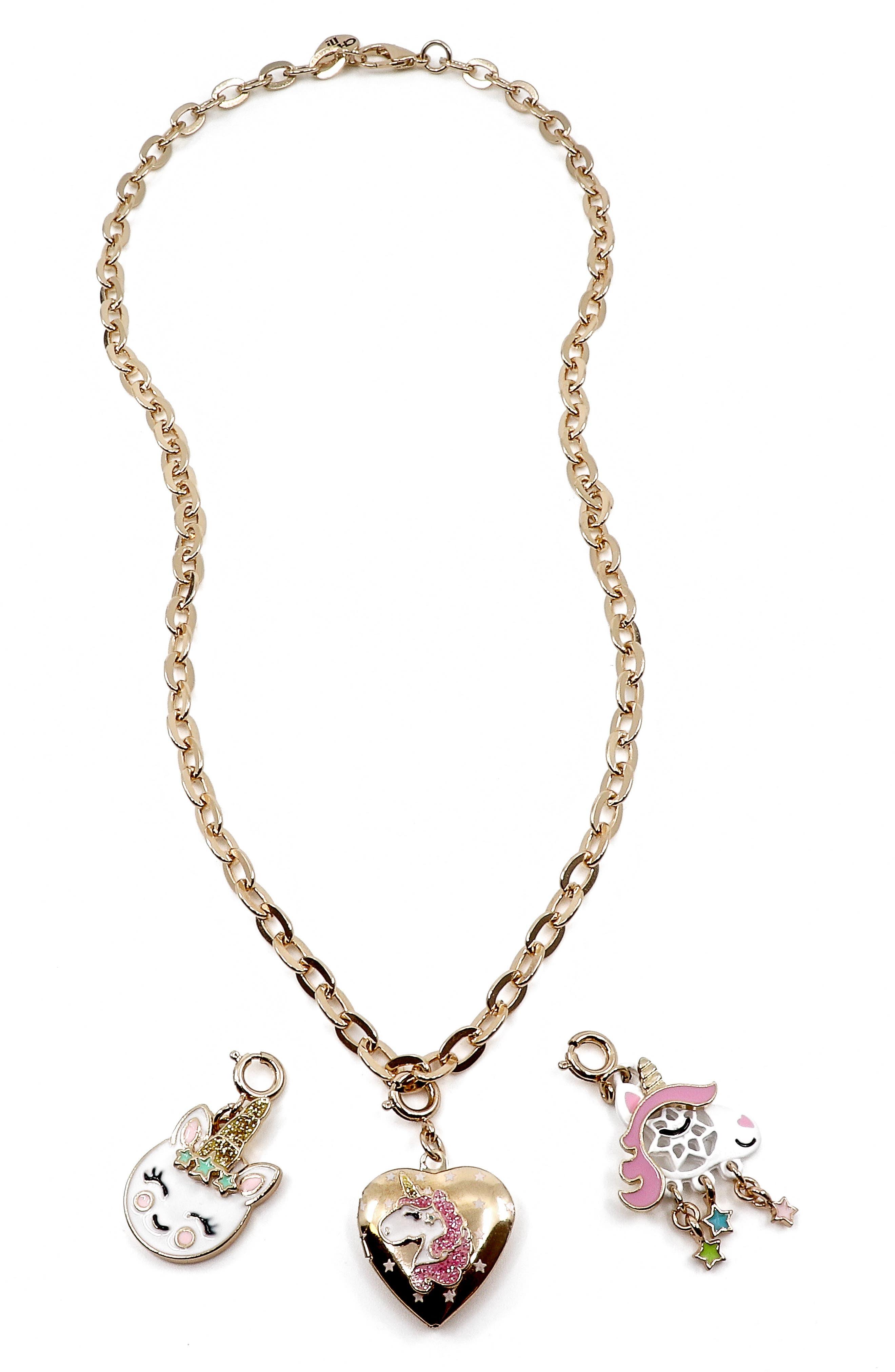 ,                             Unicorn Charm Necklace Gift Set,                             Main thumbnail 1, color,                             NO COLOR