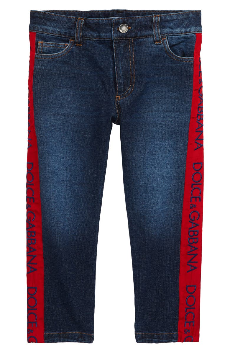 DOLCE&GABBANA Logo Embroidered Jeans, Main, color, 410