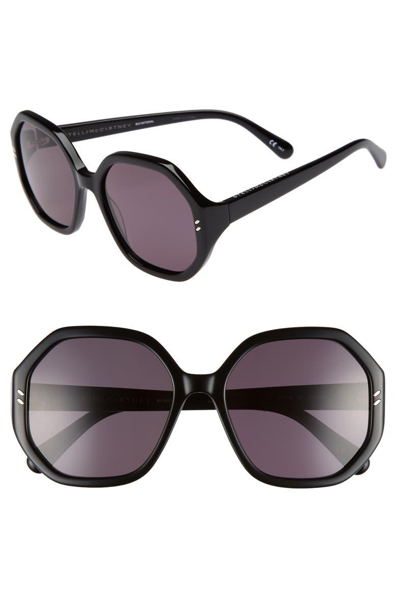 STELLA MCCARTNEY 56mm Hexagonal Sunglasses, Main, color, 001