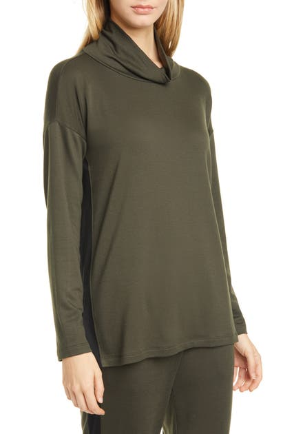 Eileen Fisher Tops SIDE STRIPE FUNNEL NECK TOP
