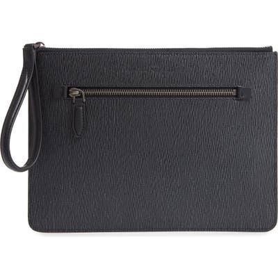 Salvatore Ferragamo Revival 3.0 Leather Zip Pouch - Grey