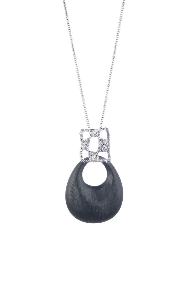 ALEXIS BITTAR Modern Georgian Checkerboard Lucite<sup>®</sup> Pendant Necklace, Main, color, BLACK
