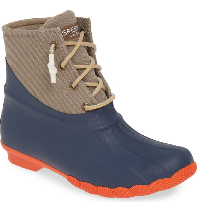 SPERRY Saltwater Waterproof Rain Boot, Main, color, TAN/ NAVY