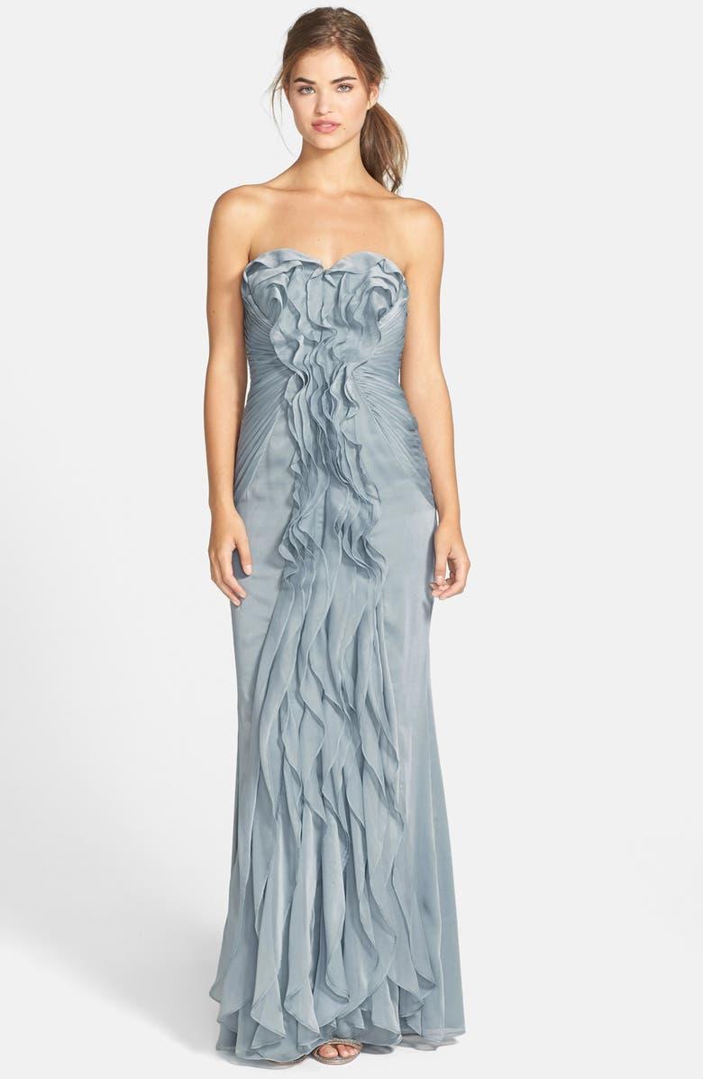 ADRIANNA PAPELL Ruffled Chiffon Dress, Main, color, 030