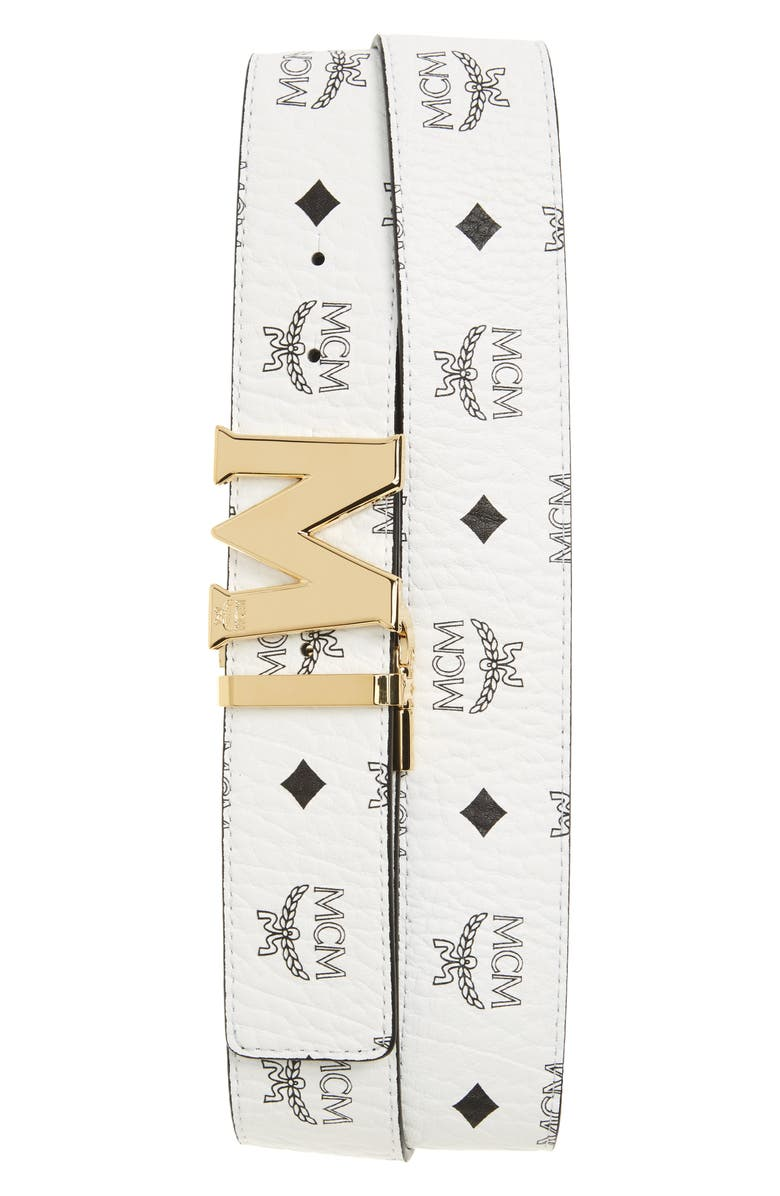 MCM Reversible Signature Leather Belt, Main, color, WHITE