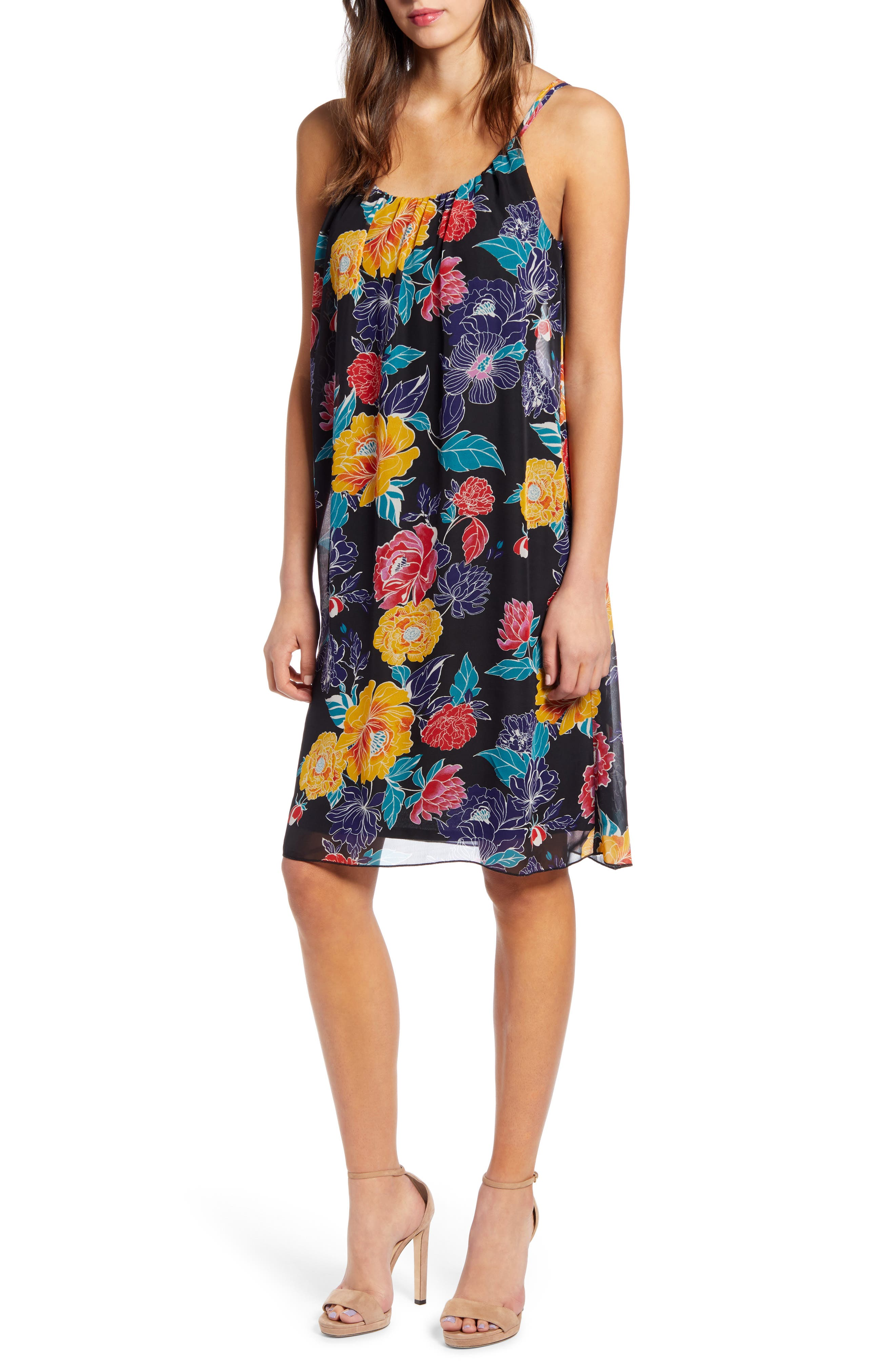 Leith Floral Print Shift Dress, Black