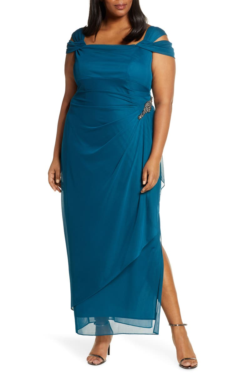 ALEX EVENINGS Embellished Cold Shoulder Gown, Main, color, DEEP TEAL