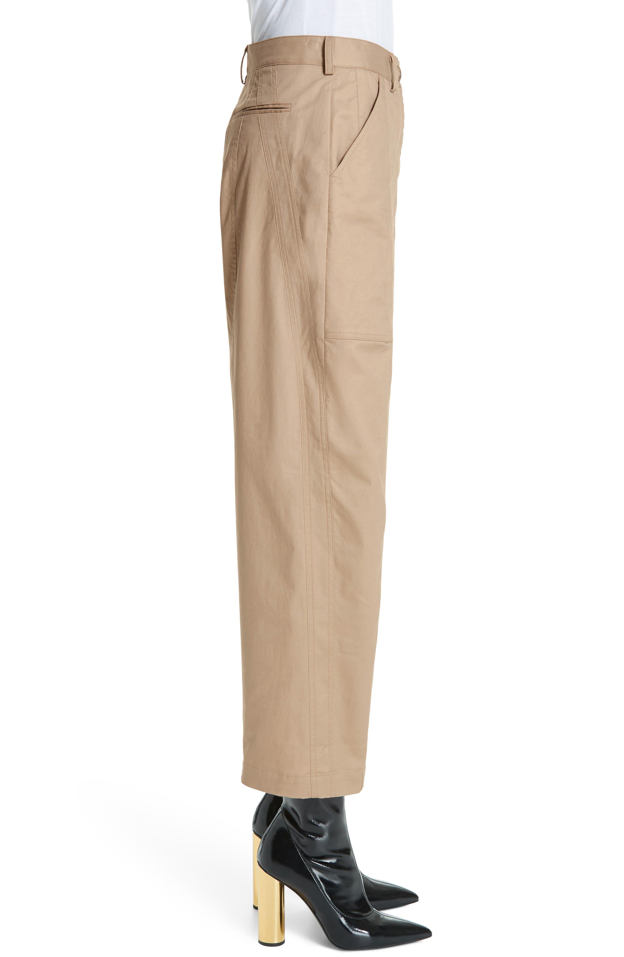 ,                             GREY Jason Wu Stretch Twill Straight Leg Pants,                             Alternate thumbnail 4, color,                             FLAXEN