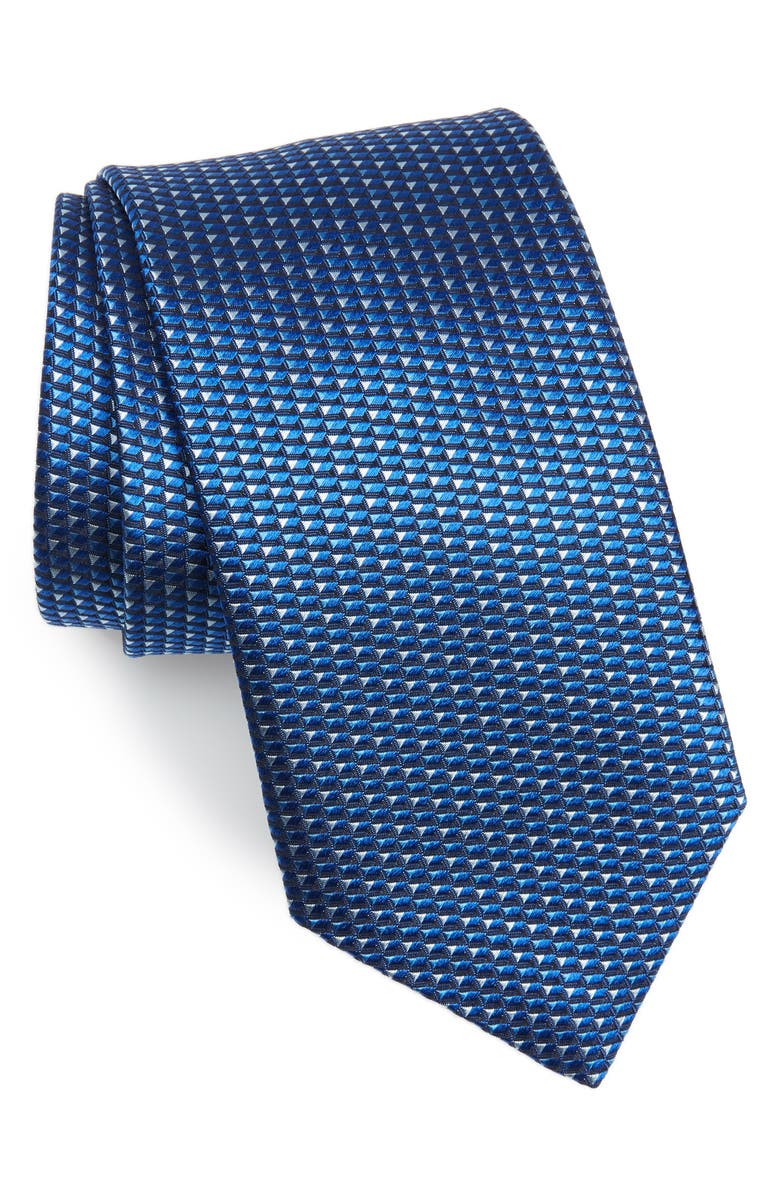 DAVID DONAHUE Geometric Print Silk Tie, Main, color, BLUE