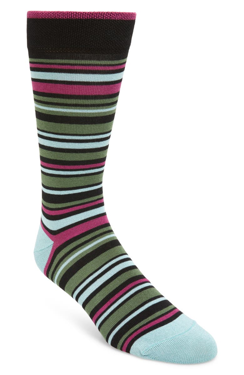 TED BAKER LONDON Stripe Socks, Main, color, BLACK