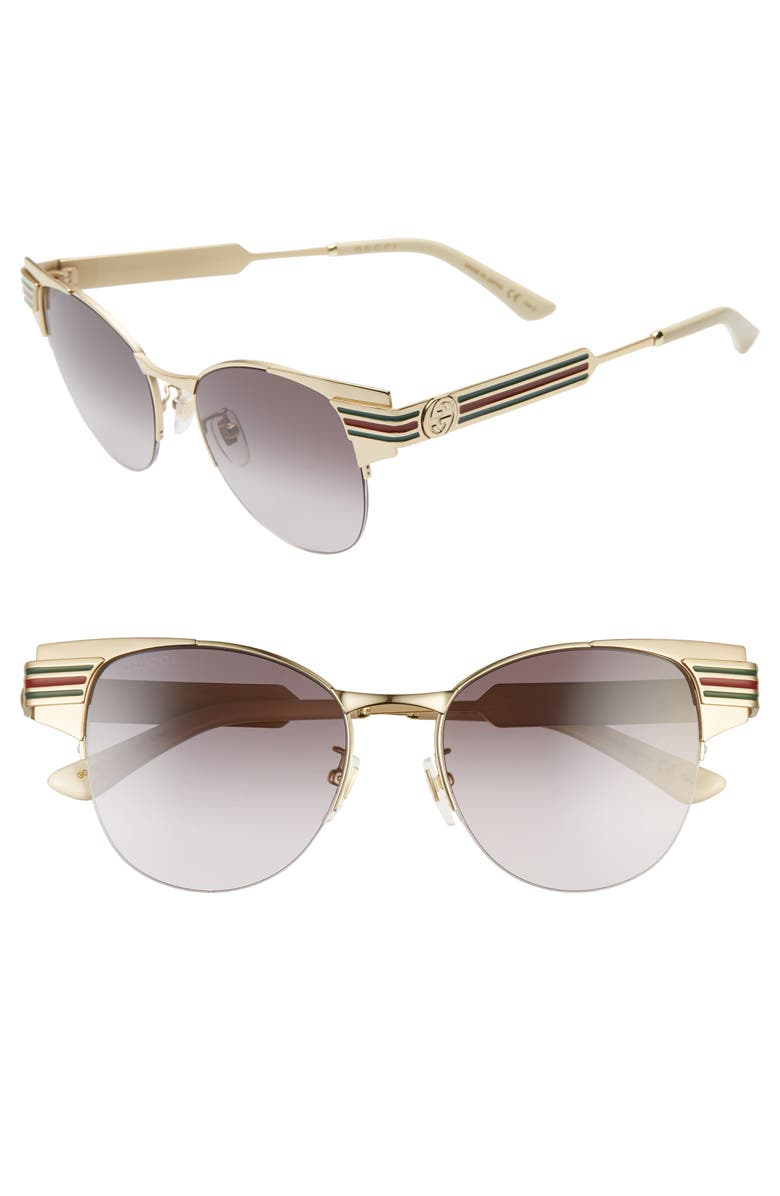 GUCCI 52mm Cat Eye Sunglasses, Main, color, GOLD/ GREY