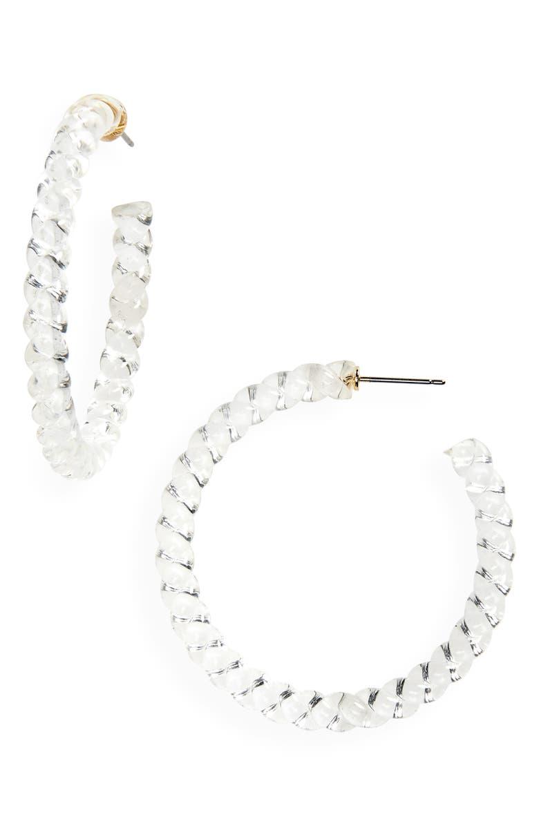 HALOGEN<SUP>®</SUP> Clear Twist Hoop Earrings, Main, color, 100