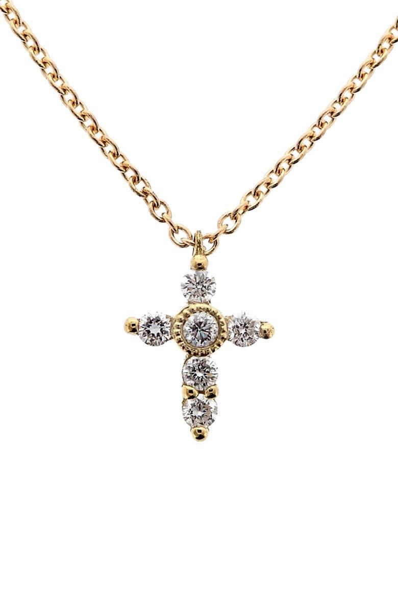 BONY LEVY Diamond Mini Cross Necklace, Main, color, YELLOW GOLD