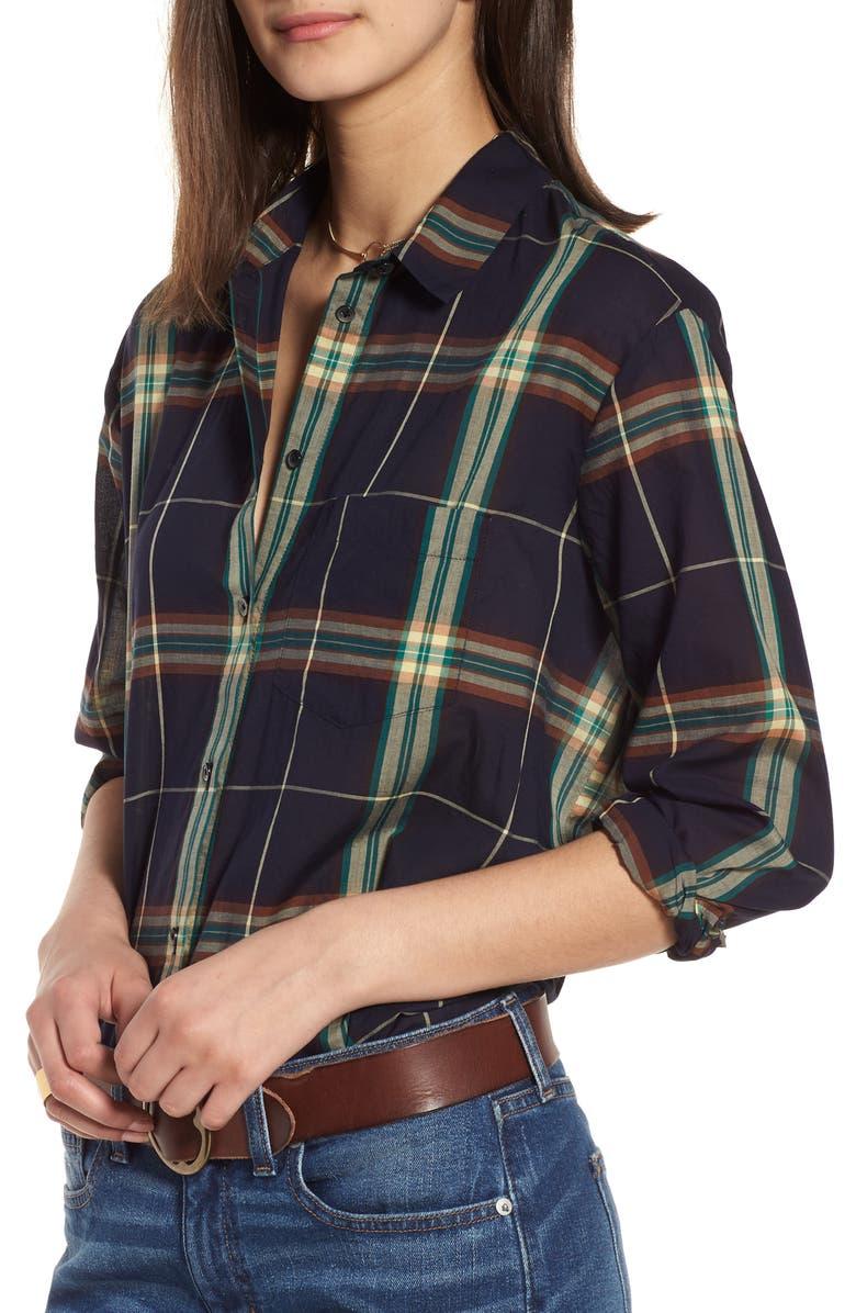 MADEWELL Oversize Ex-Boyfriend Plaid Shirt, Main, color, 300